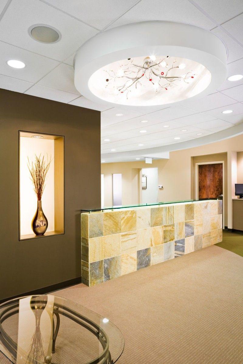 Beautiful Office Reception Area Design With Modern Pendant Light ...