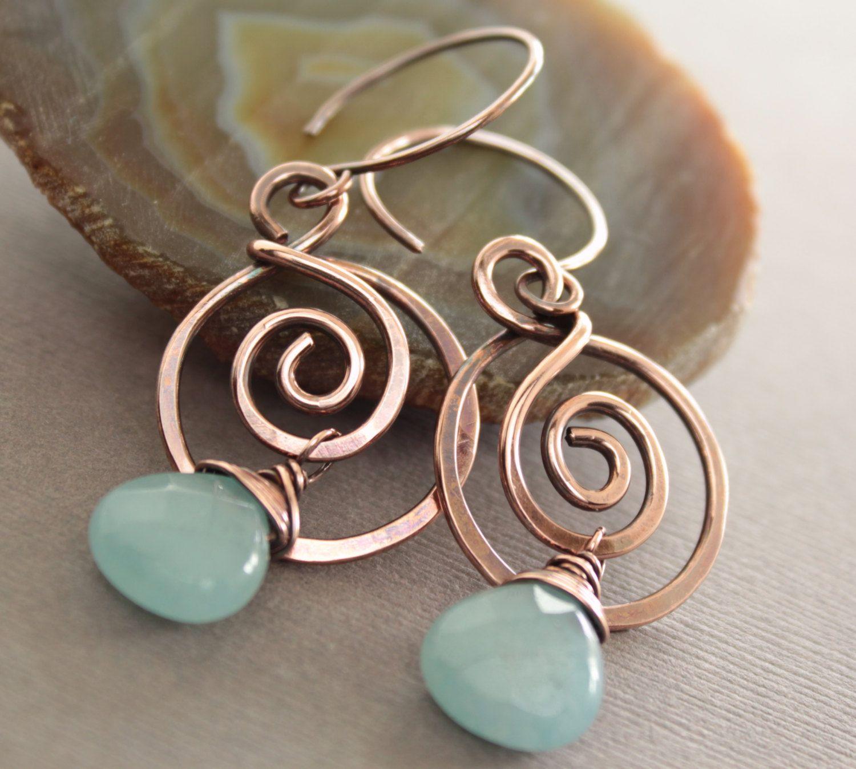 Blue howlite hoop earrings long dangle earrings handmade hand formed wire wrapped earrings