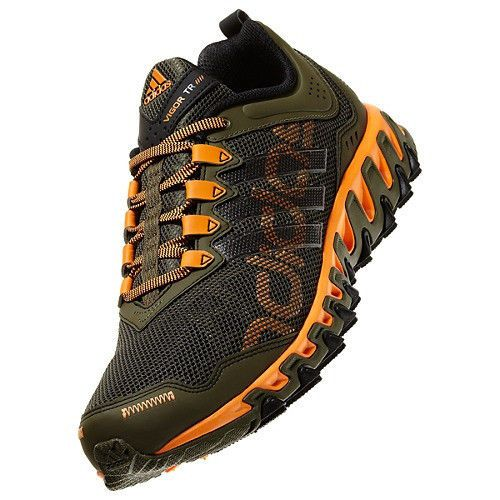 4851a8d35 New adidas Mens VIGOR 4 Trail Running Shoes Outdoor TR Earth Green Orange  Black
