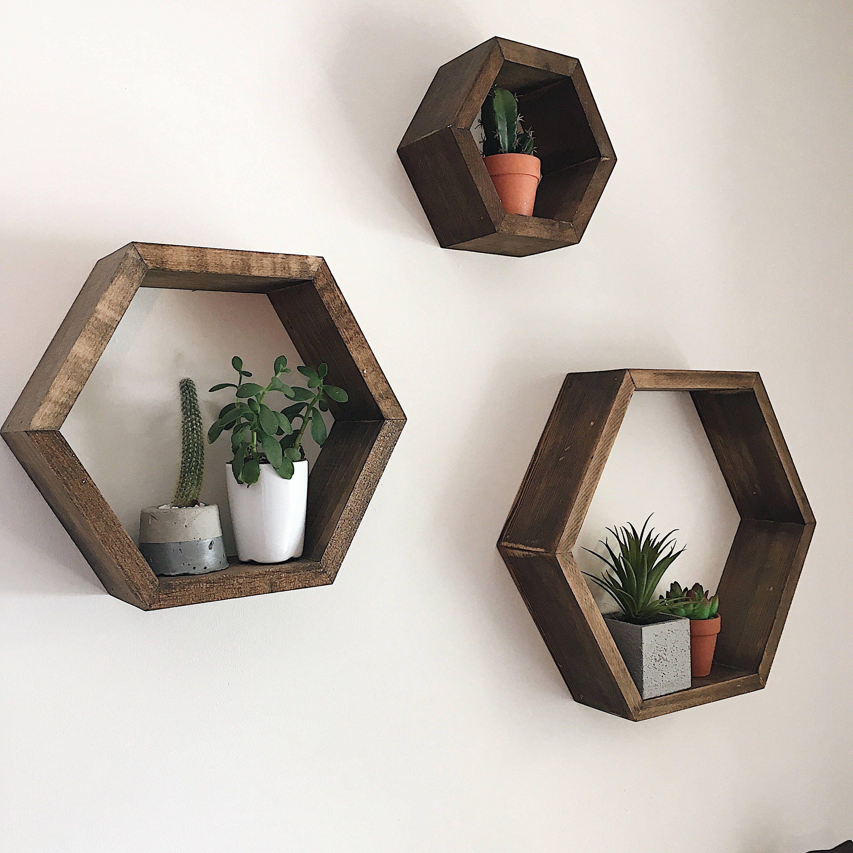 3 Hexagon Shelves - Floating Shelves - Wall Decor -