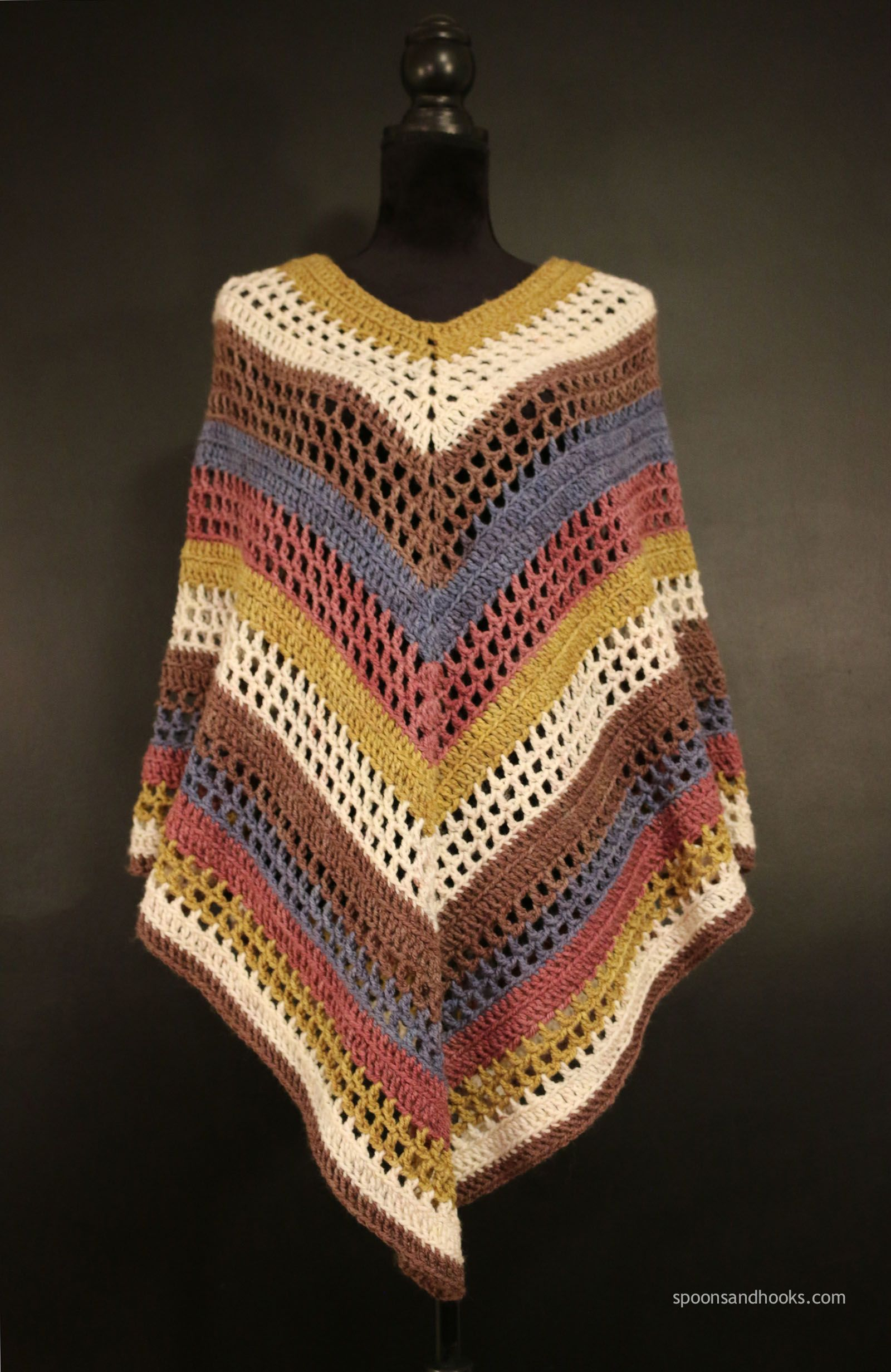 The easiest poncho you\'ll ever make - free crochet pattern at Spoons ...