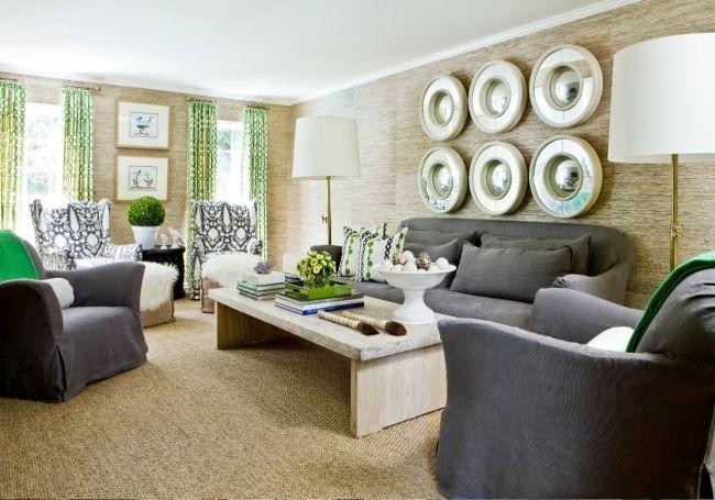 Modernes Wohnzimmer Holzoptik Tapeten Grüne Gardinen Graue Möbel