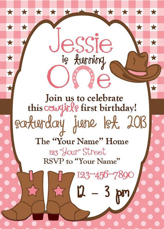 Personalized Cowgirl Birthday Invitation by DoodlesDotsnDimples – Cowgirl Birthday Invitation