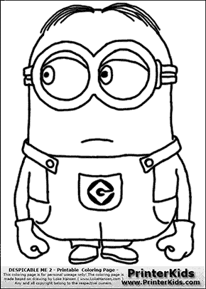 Despicable Me 2 Minion 6 Standing Coloring Page Minons