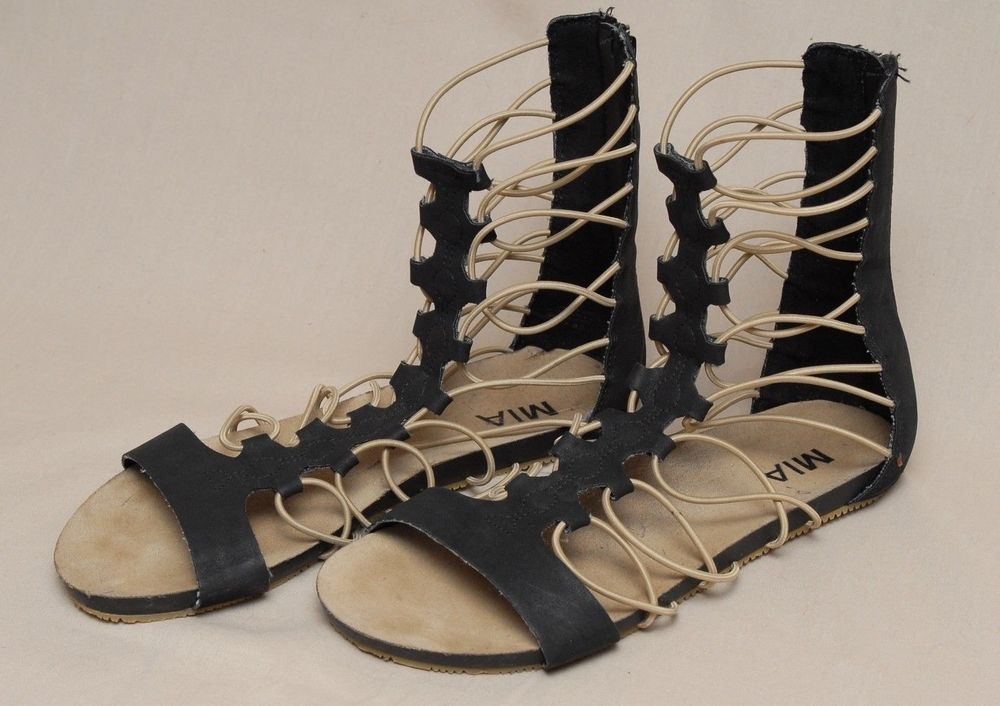 332ede20e83 MIA Gladiator Sandals Black Beige String Zipper Back Shoes Womens Size 8   Mia  Gladiator