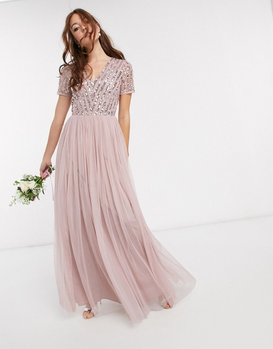 Maya Bridesmaid v neck maxi dress with tonal delicate sequin