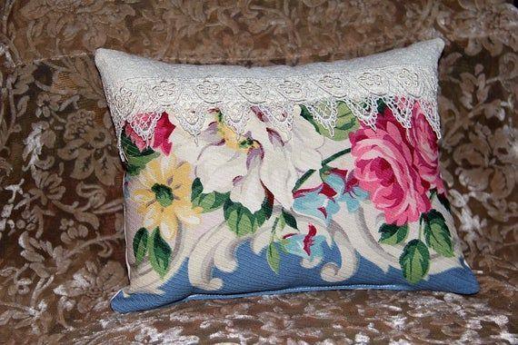 Pink Roses Barkcloth Pillow Vintage Fabric Lace Trim Accent Throw Pillow Cottage Paris Apartment