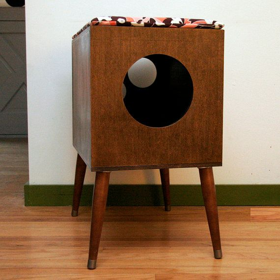 Mid century modern cat furniture litter box cover small cat condo mid century modern and - Modern cat litter box furniture ...