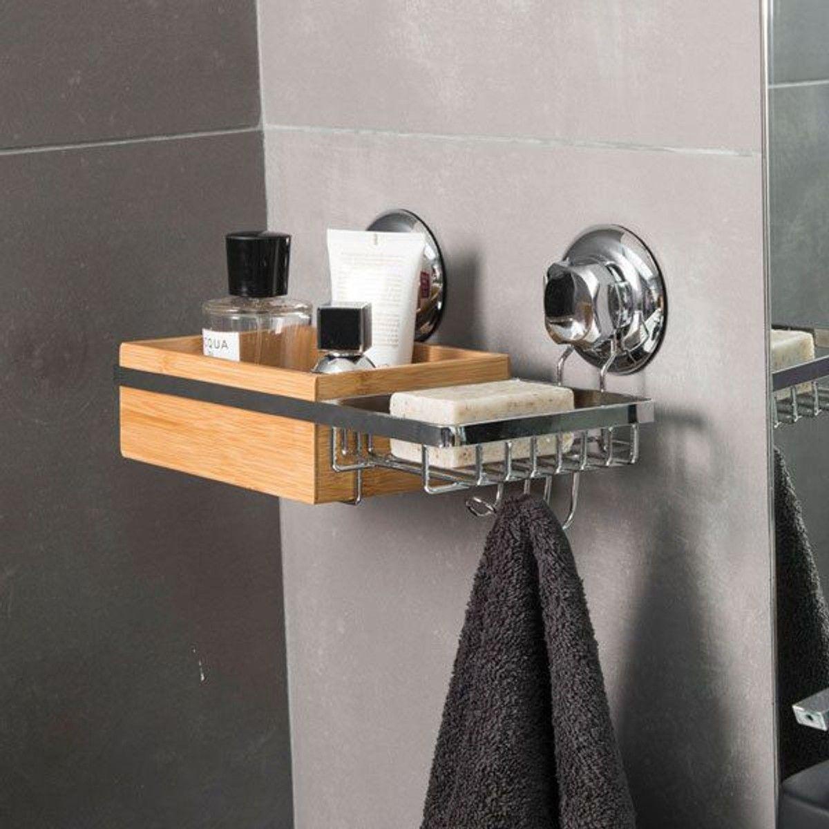 "Porte-savon et rangement à ventouses ""Spa"" en bambou  Porte savon"