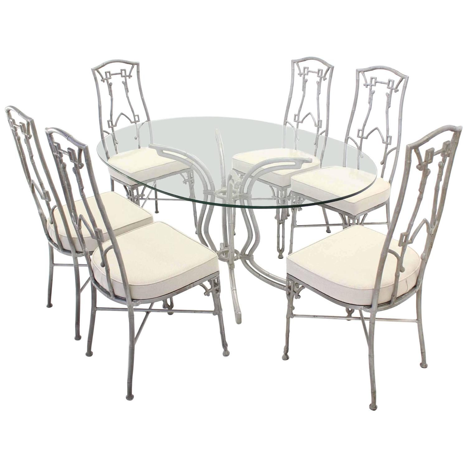 Cast Aluminum Faux Bamboo Mid-Century Modern Six Chairs and Table ... for Modern Bamboo Dining Table  166kxo