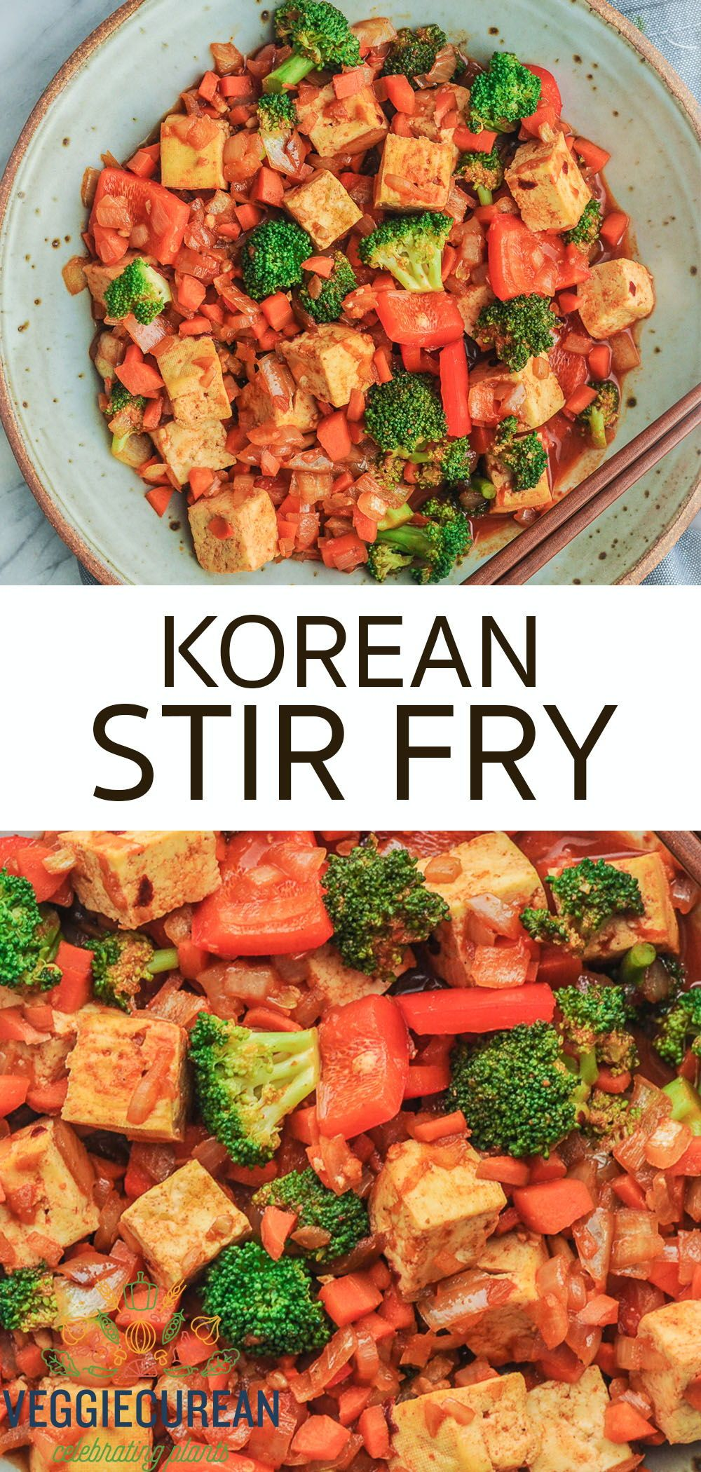 This Korean Stir Fry is protein packed with tofu, loaded with veggies, and smothered in Gochujang sauce, a Korean red pepper and rice paste. This dish is ready in just 20 minutes - perfect for a quick weeknight family meal! #koreanfood #vegan #plantbased #dinner #healthy