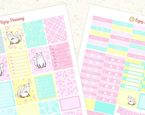 Printable Cat planner sticker set Cute Cat by EnjoyPlanning