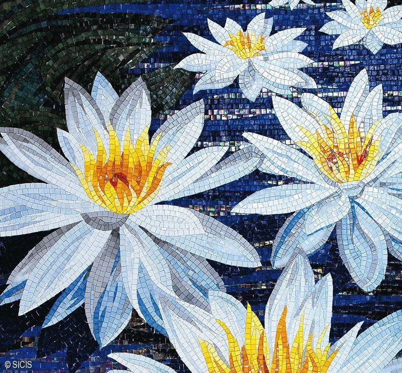 Blue Floral Mosaic Tile :: Sicis | Mosaic Arts & Tile ...