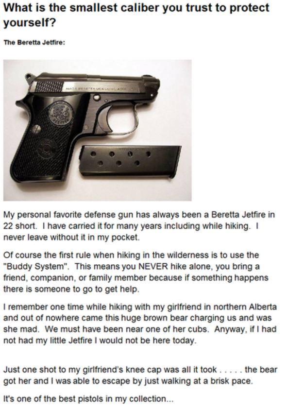 Review For The Beretta Jetfire Small 22 Caliber Pistol Involving A