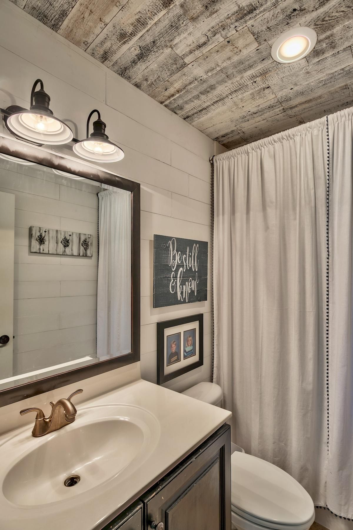 Bathroom Remodel With Stikwood: Shiplap Walls With Stinkwood Ceiling Make For A Modern