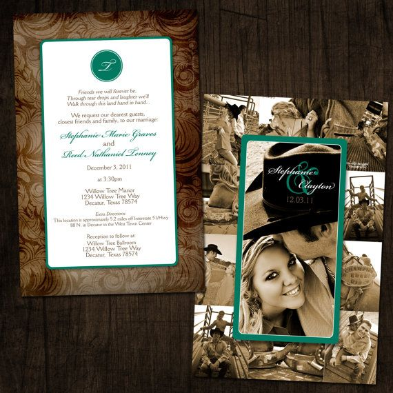 western chic collage wedding invitation western chic weddings and