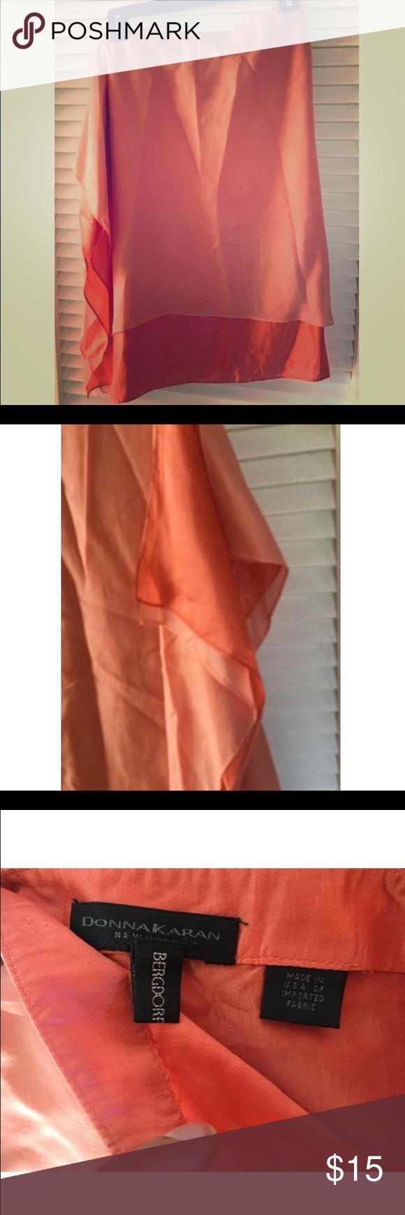 "☀️SALE☀️DKNY flowing Silk Skirt, Peach - xs A gorgeous piece. 100% silk. 2 layers, 2 shades of peach. Side zipper makes it easy. Elegant, flowing skirt. 26"" waist, length - 2 DKNY Skirts Midi"
