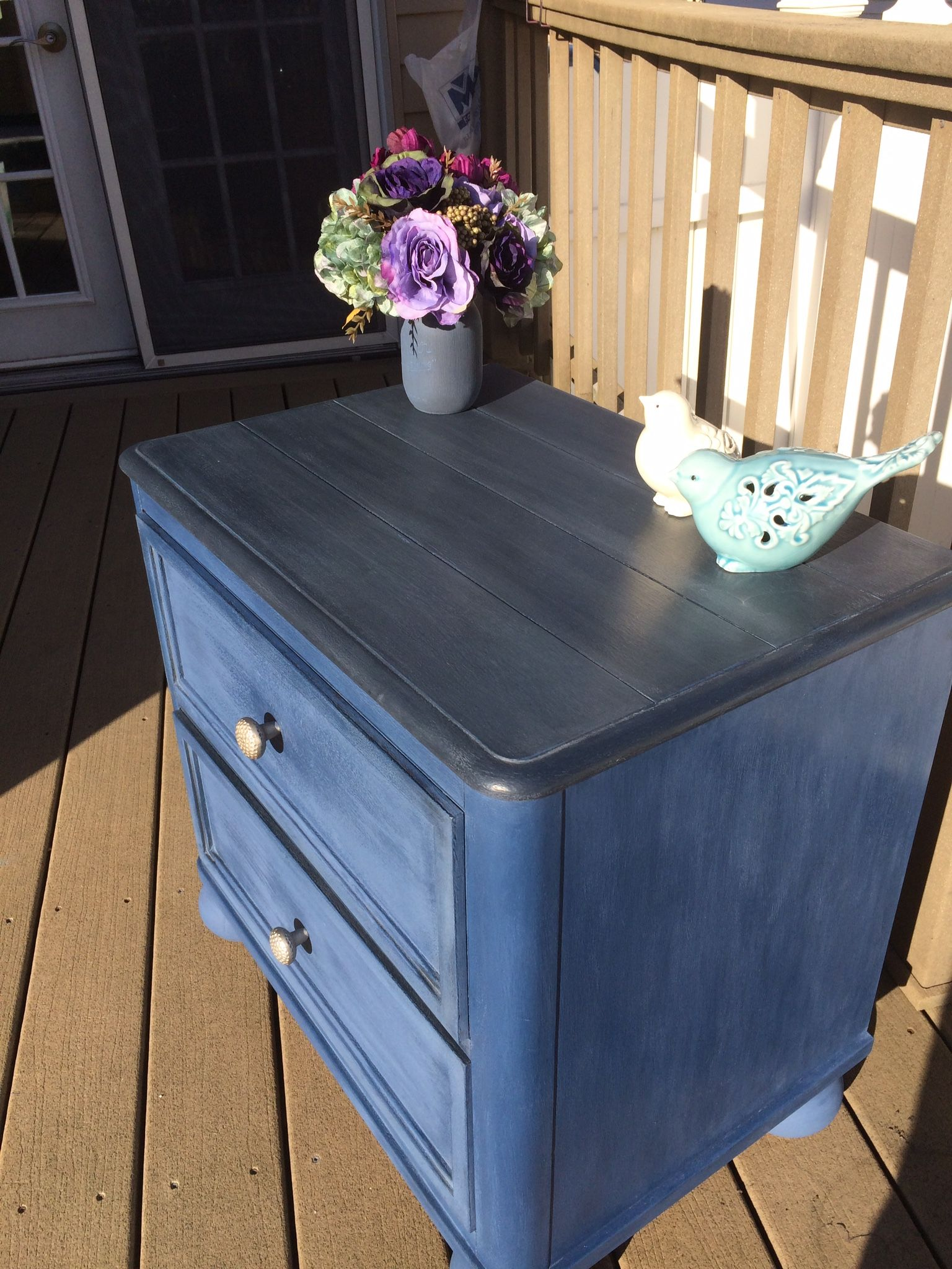 Painted This Thrift Shop Table In Rustoleum Coastal Blue Chalk Paint Waxed Then Sanded Top And