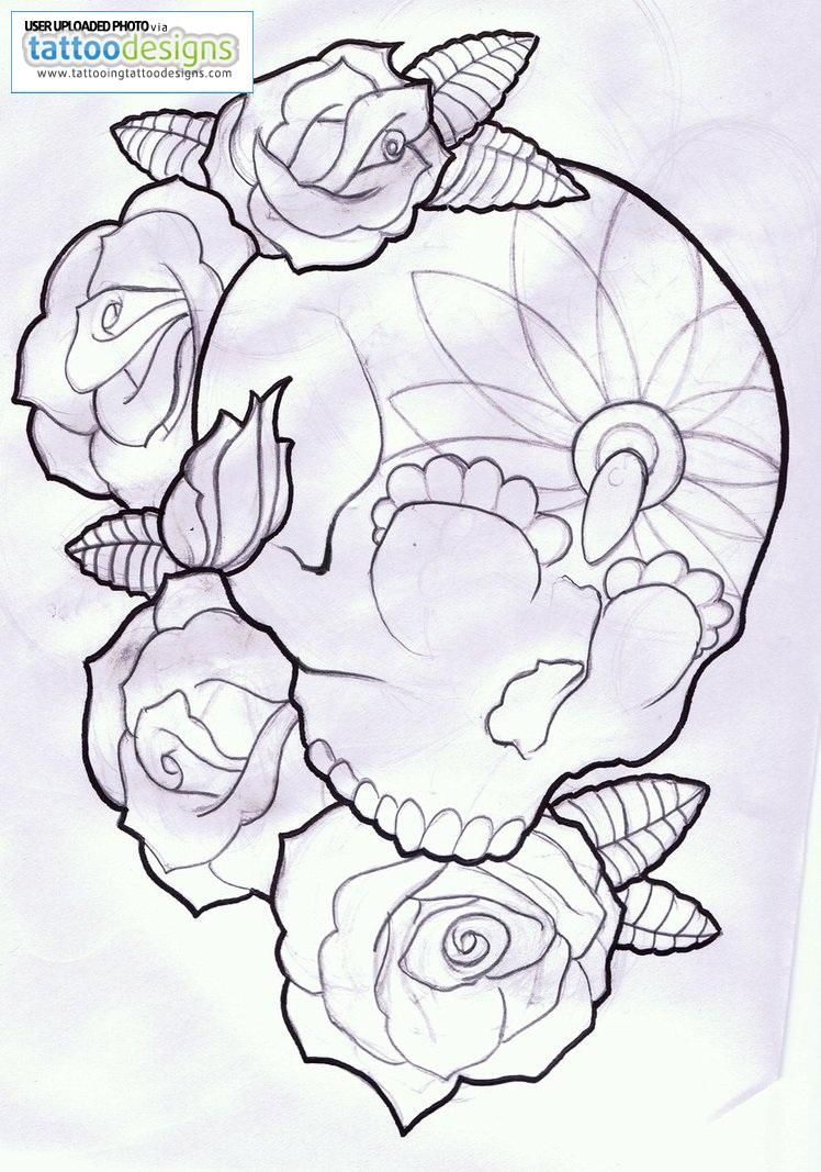 Black Outline Gangster Sugar Skull With Roses Tattoo Stencil Skull Coloring Pages Sugar Skull Tattoos Hippie Art