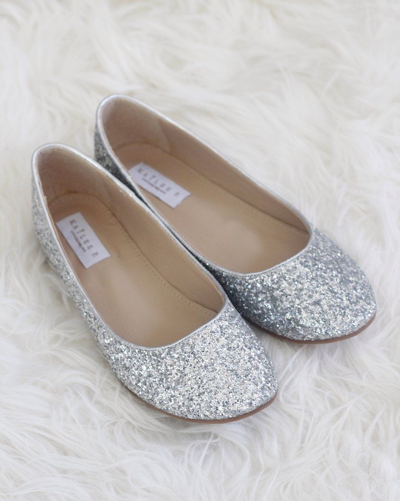 221febee9d2e SILVER Rock Glitter Slip on Flats. SILVER Rock Glitter Slip on Flats Silver  Flat Wedding Shoes ...