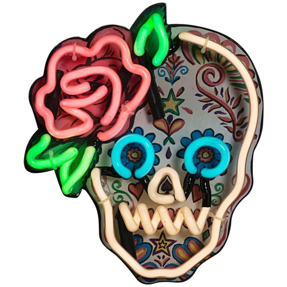 Mexican Sugar Skull With Neon Outline And Rose Detail
