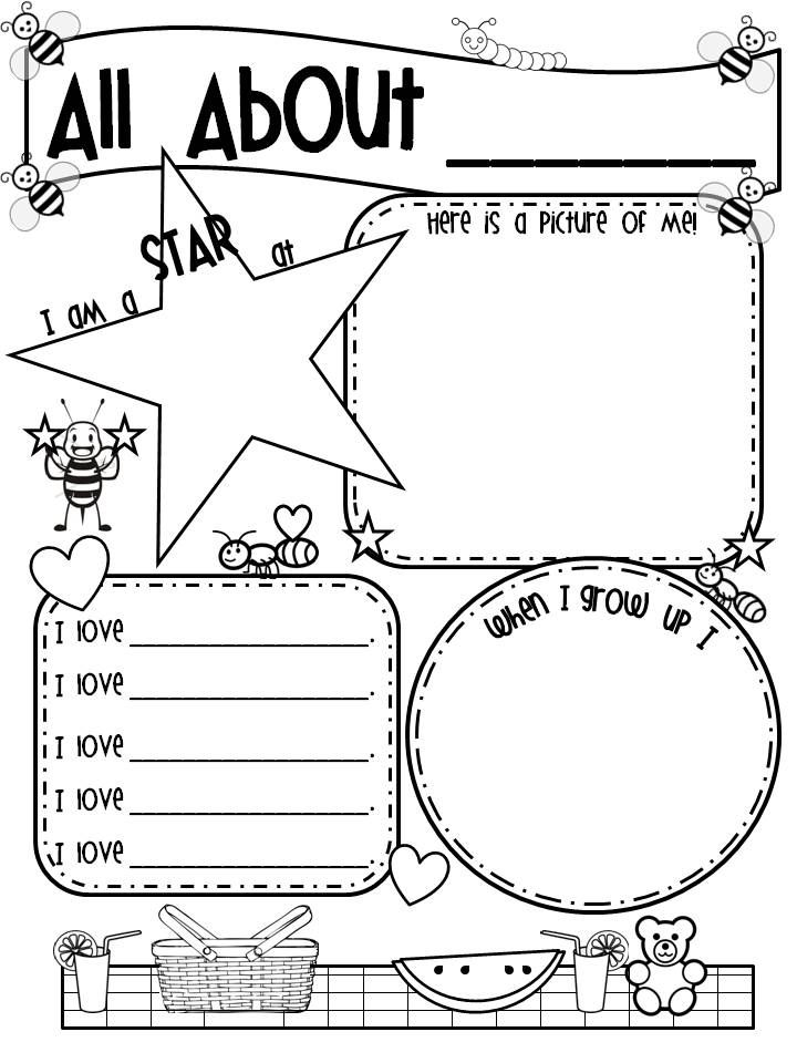 Check out this All About Me poster for back to school – All About Me Worksheets for Kindergarten