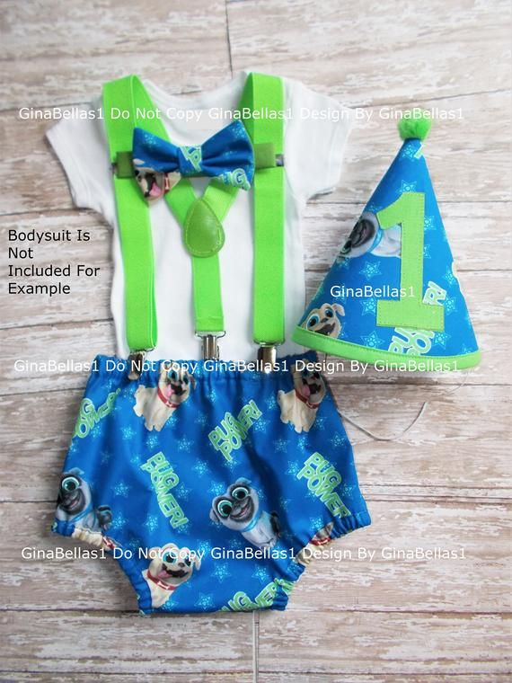 Puppy Dog Pals Birthday Outfit Cake Smash Hat 1st Party Diaper Cover Bow Tie Optional Green Suspend