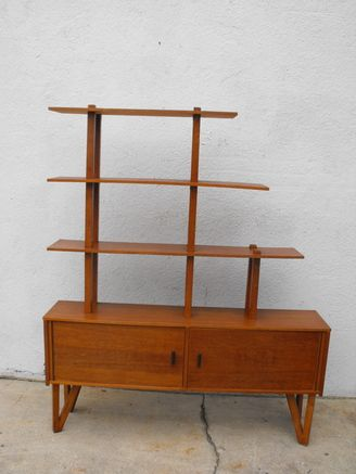 MID CENTURY TEAK BOOKSHELF AND CABINET