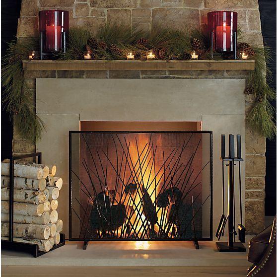 Prairie Grass Fireplace Screen In Fireplace Accessories