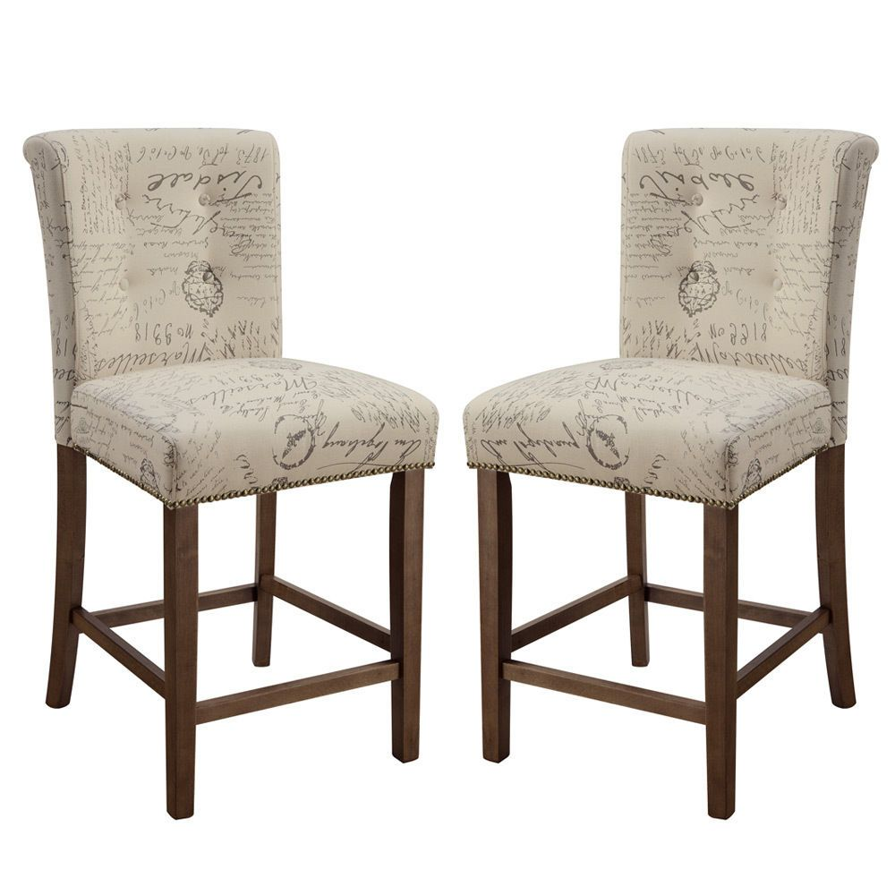 Set Of 2 Dining Counter Height High Chairs Wooden Seat Distressed