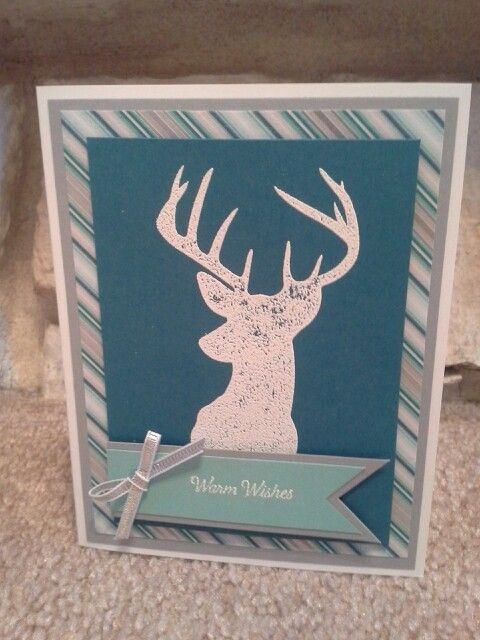 I used the Remembering Christmas stamp set, Winter Frost DSP, silver ribbon, and embossed the deer in white.