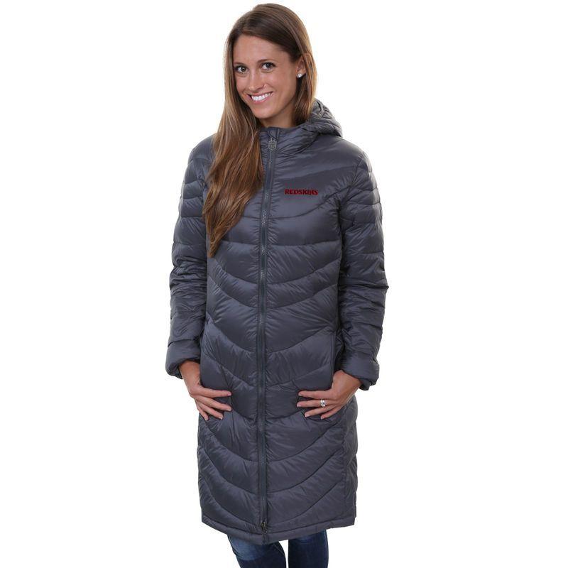 NFL Pro Line Washington Redskins Womens Siberian Puff Full Zip Jacket - Gray