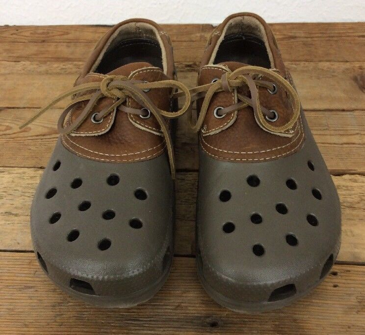 d45d77a56 Crocs Islander Boat Duck Brown Lace Up with Leather Upper Mens 11  Crocs   Clogs