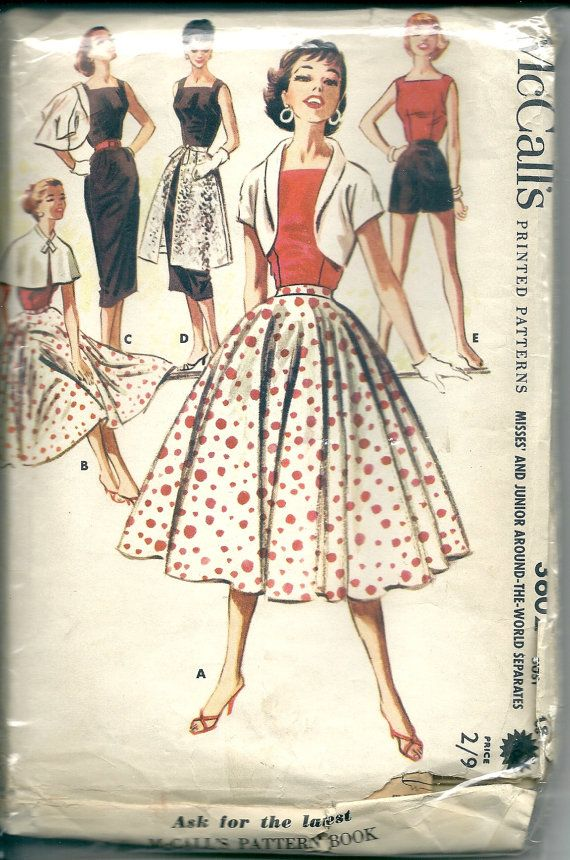 51676c3149a53 McCall's, Vintage dress sewing pattern. 1956 design, size 18, bust ...