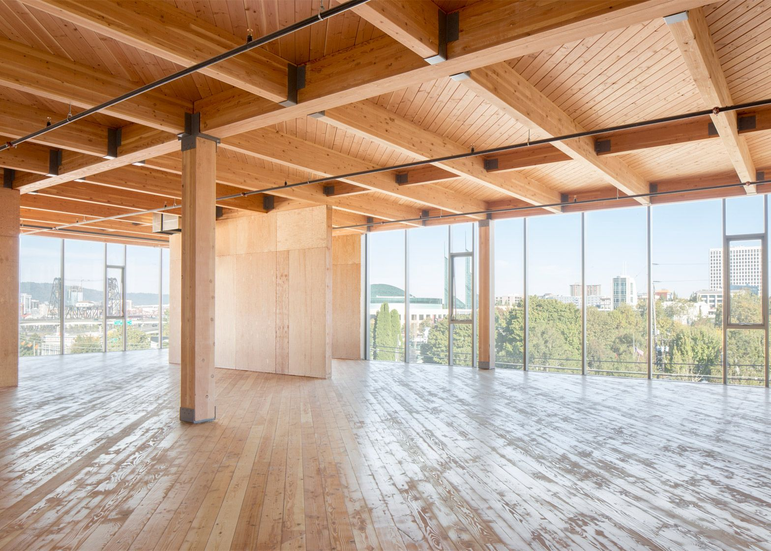 Glass Facade Reveals Timber Structure Of Portland Office