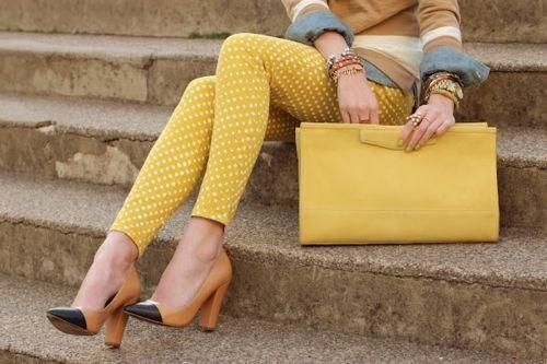 yellow polka dot jeans