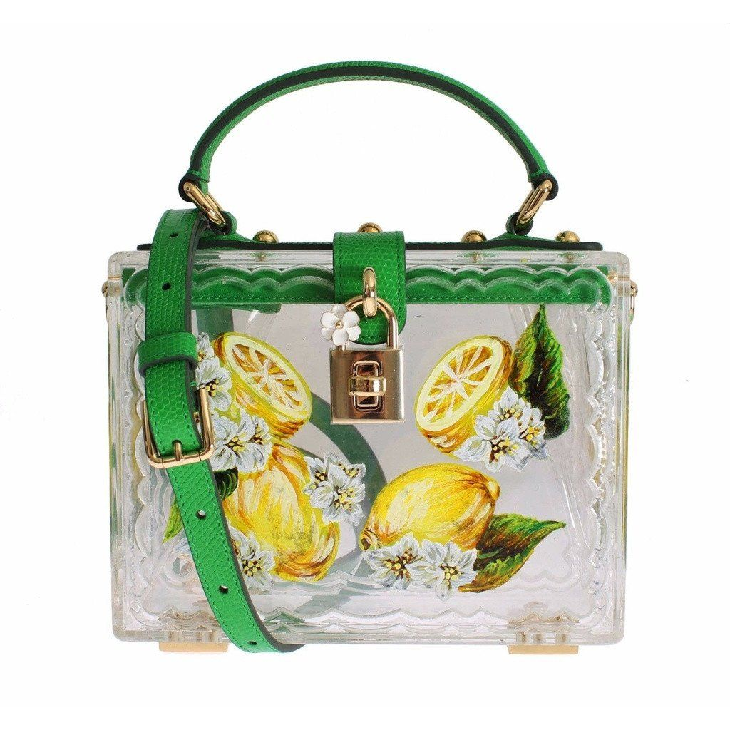 Dolce   Gabbana Plexi Lemon Motive Painted Hand Shoulder Bag   Stone ... 0a7176108f