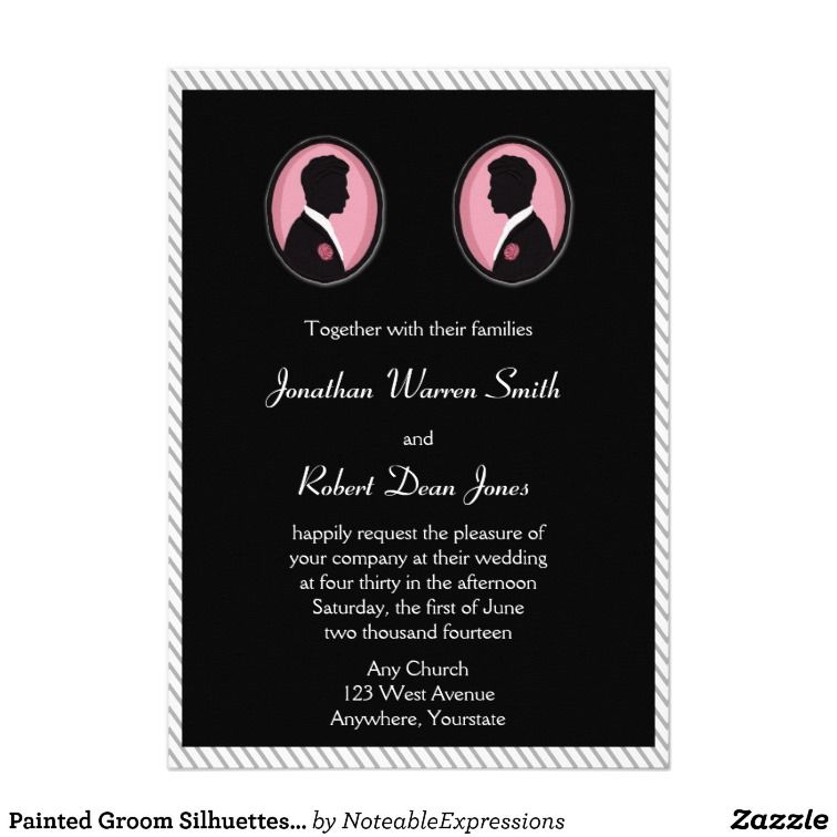 Painted groom silhouettes gay wedding invitation lgbt gay wedding this fun design is called painted groom silhouettes gay wedding the background is a bright white with grey pinstripes centered is a black insert with two stopboris Choice Image