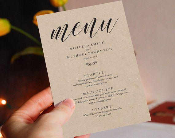 Wedding Menu Template, Wedding Dinner Menu, Rustic Wedding Menu - dessert menu template