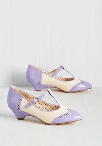 7685cdbe5e9 Pastel purple spectator low heel vintage shoes. Care to Dance Heel in Lilac