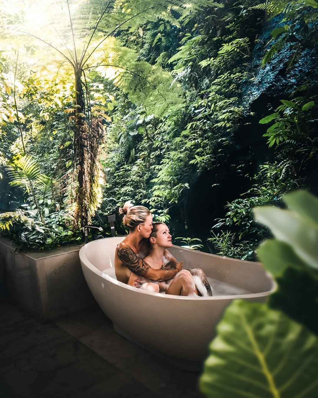 Bali Jungle Bath Lesbian Couple With Images Cute Lesbian