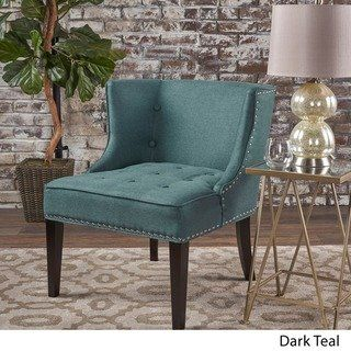 Christopher Knight Home Adelina Fabric Occasional Chair (Dark Teal) is part of Teal Home Accents Basements - This Adelina, deep seated occasional chair, by Christopher Knight Home is perfect for adding a splash of color to your home while still providing extra seating when needed  Made with top quality material and featuring hand crafted detail work, this chair is a must have  Each stud and button was placed by hand; making any piece you buy a one of a kind  Includes One (1) chair Material Fabric, birch wood Fabric composition 100percent Polyester Color Dark teal, grey, light lavender, orange Leg finish Dark brown Assembly required Yes Hand Crafted Details Dimensions 31 50 inches high x 28 inches wide x 28 50 inches deep Seat dimensions 18 25 inches high x 25 inches wide x 22 25 inches deep Seat Comfort SemiFirm Product Features Nailheads, Tufted Cushions Chair Type Accent Chairs, Wingback Chairs Material Fabric, Wood Style Contemporary, Modern, Transitional Pattern Solid Assembly Assembly Required Chair Back Height Standard Print Solid Arm Style Armless Color Grey, Green, Purple, Orange Assembly Required