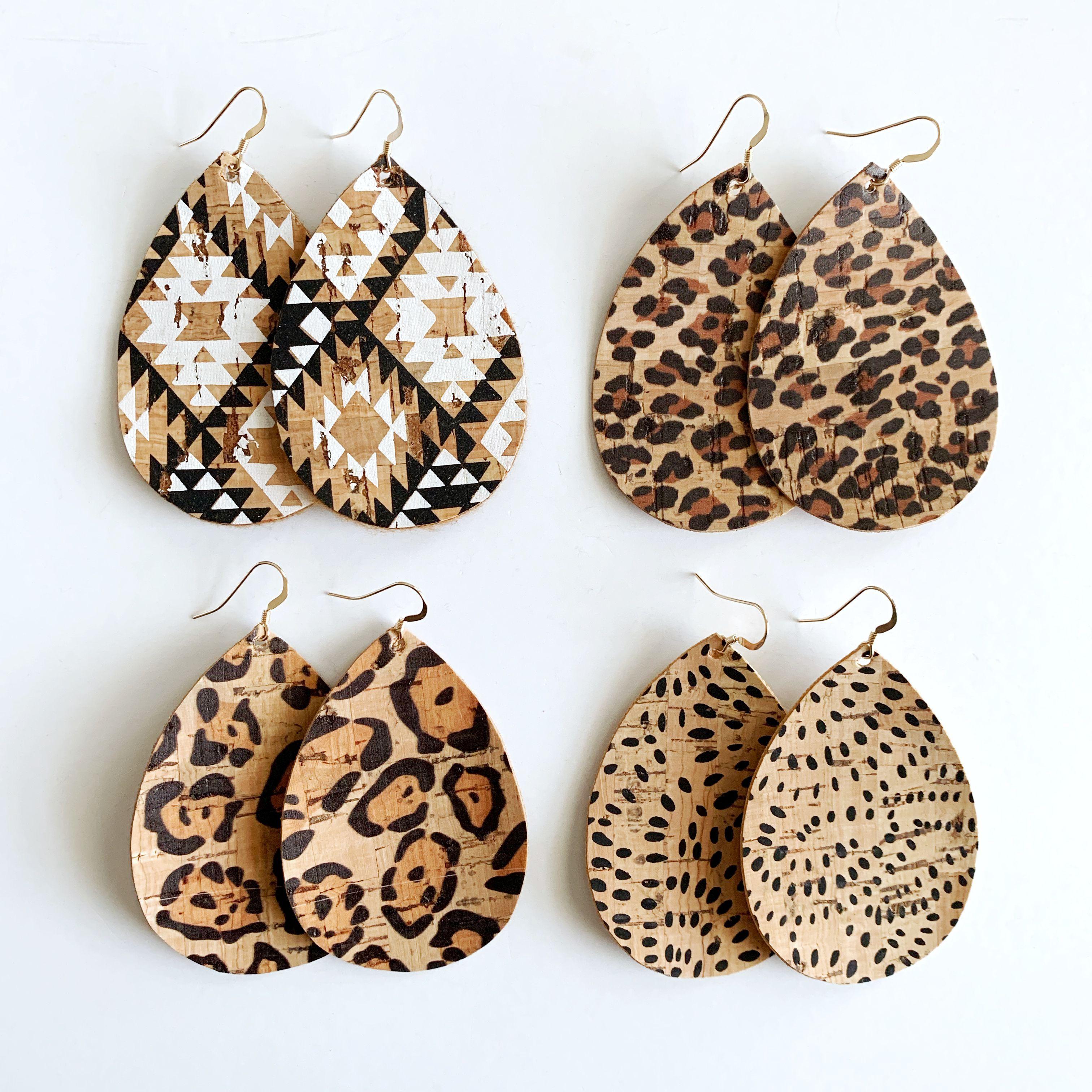 cork leather leather earrings Cork earrings