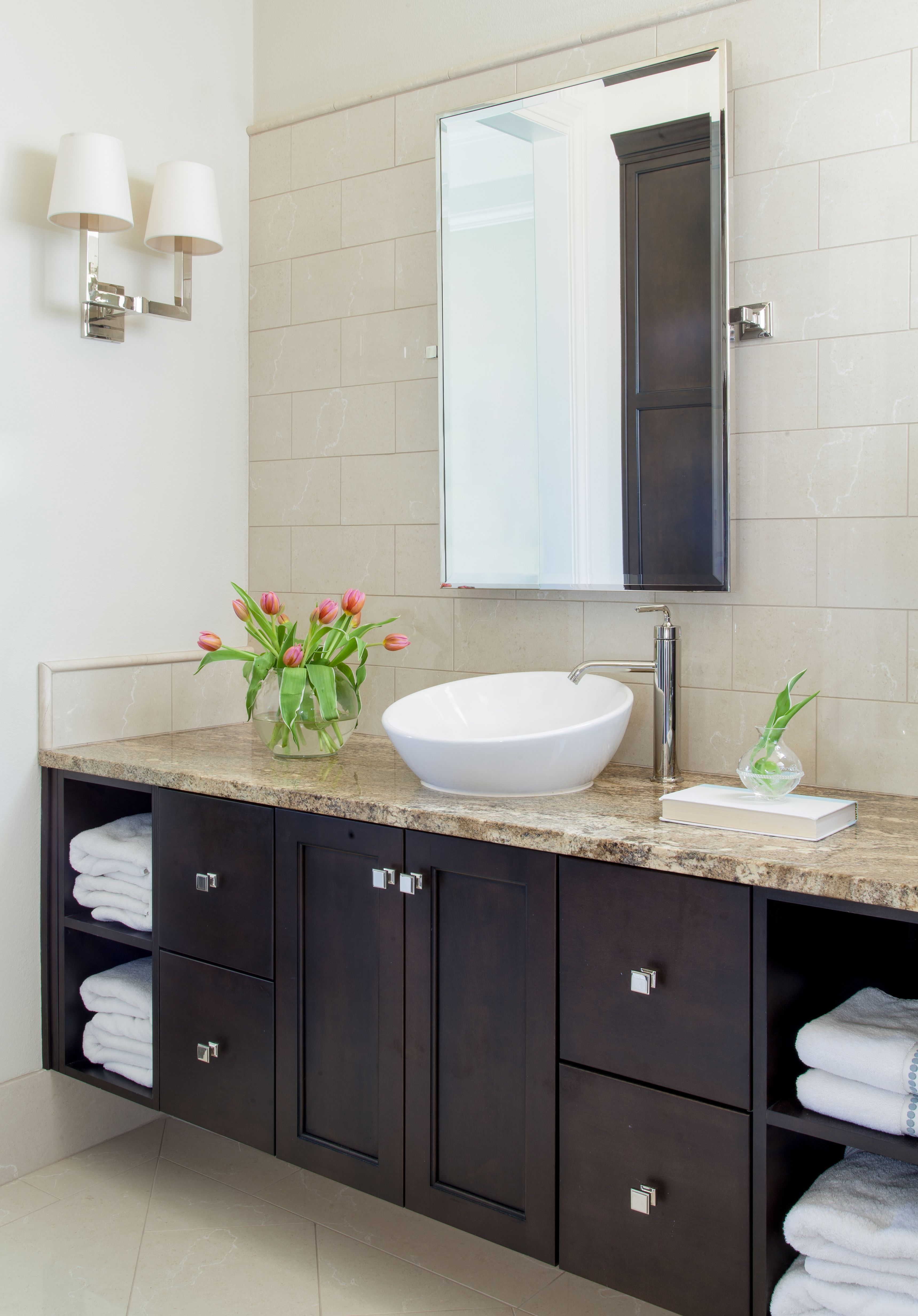 Elegant Bathroom Dark Cabinets Crema Marfil Marble Tiles Vessel Sinks Square