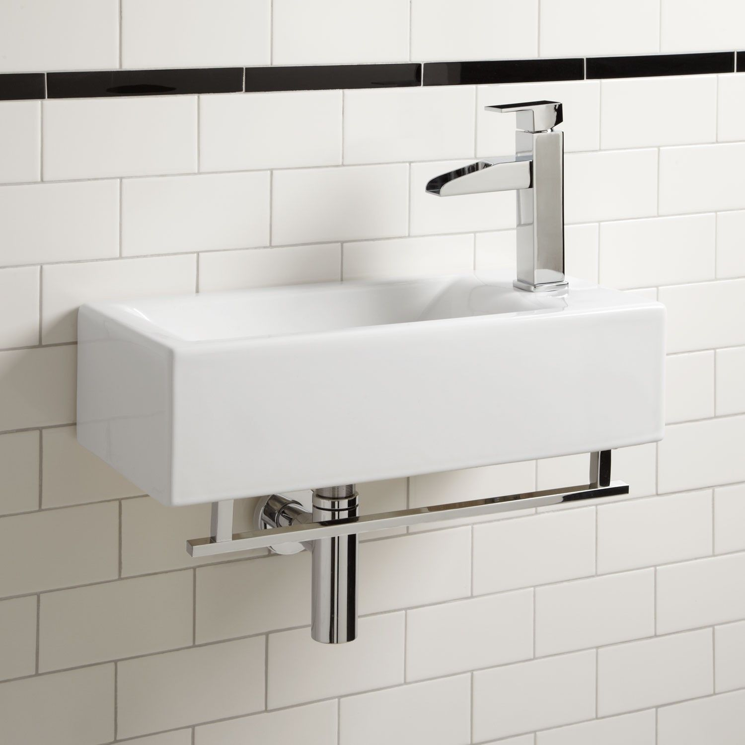 Leiden Wall Mount Sink with Towel Bar Wall Mount Sinks