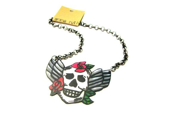 Halloween Inspired Skull Necklace Skull by EmmaRuthJewelryCo