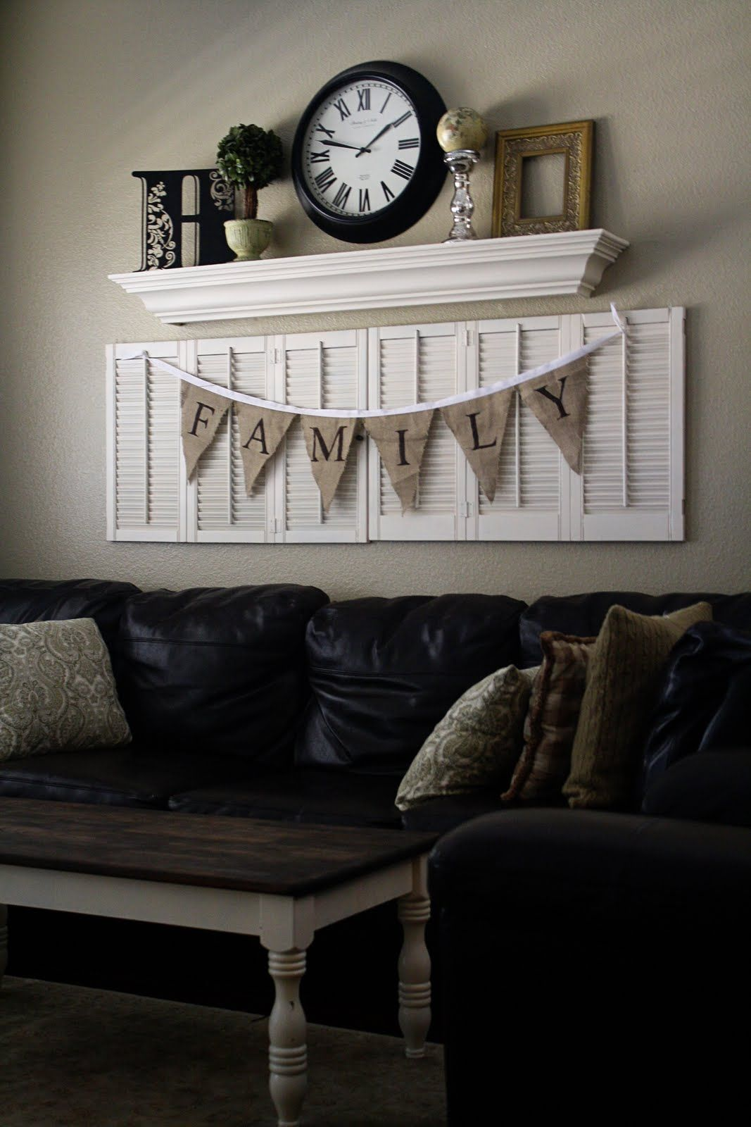 Love The Shutter Idea With The Shelf Above It Wall Decor Living