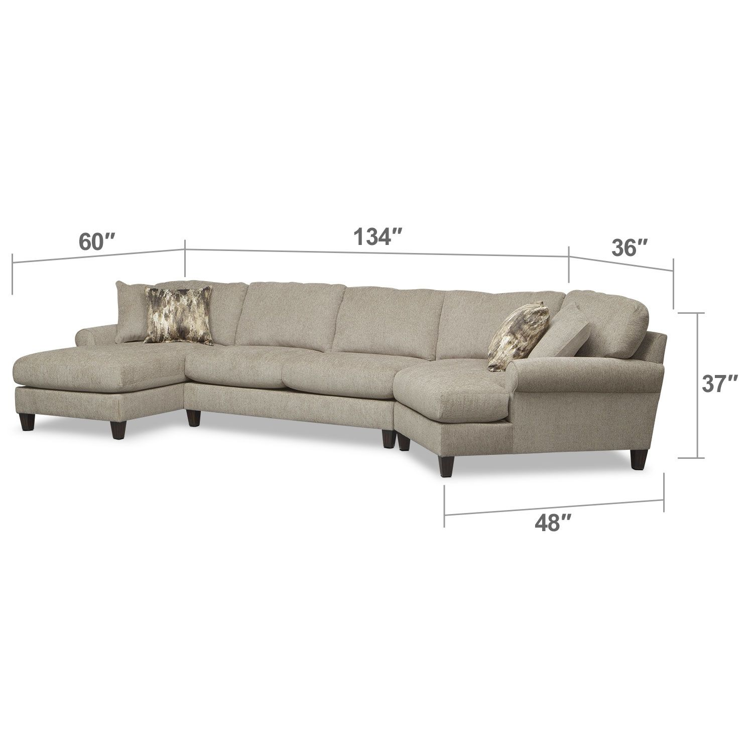 Living Room Furniture Karma 3 Piece Sectional with Right Facing
