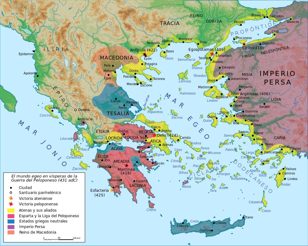 Map Peloponnesian War 431 BCes Liga del Peloponeso Wikipedia
