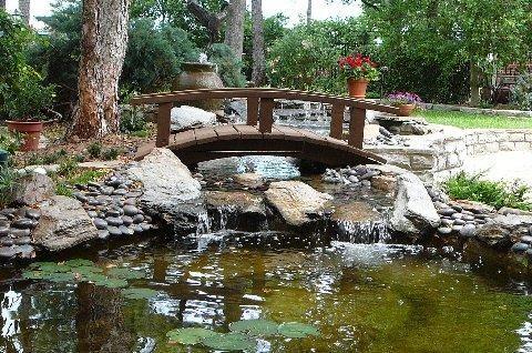 Love the little bridge spring time gardening outside for Koi pool water gardens thornton